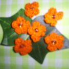 Hand Crochet Mini Flower Embellishments (Set of Six) Orange