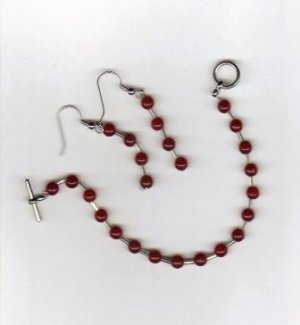 Handcrafted Beaded Bracelet & Earring Set in Burgundy & Silver