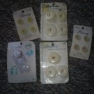Assortment of 5 Carded White Vintage Buttons