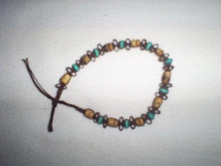 "Handcrafted Macrame  Beaded Bracelet, 8"", New"