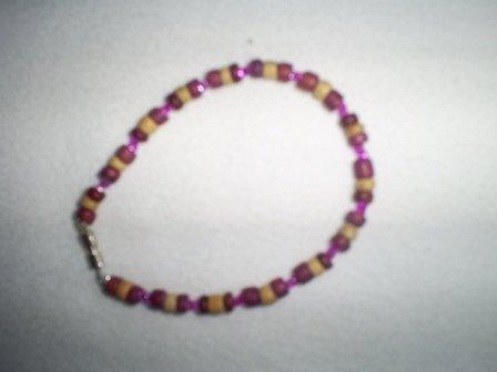 "Handcrafted Purple Beaded  Bracelet, 8 1/2""   New"
