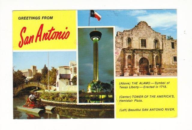 Vintage Postcard, Greetings from San Antonio, 1986.  Very Good Condition