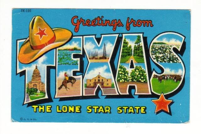 Vintage Postcard, Greetings from Texas, 1958  Very Good Condition