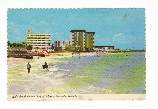 New Vintage Postcard, Lido Beach, Sarasota, Fl.  Good Condition