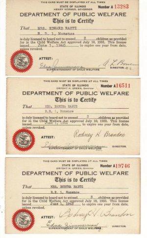 Set of Three Dept. of Public Welfare, Illinois 1940-1942