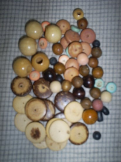 Over One ounce assorted wood  crafting beads, New