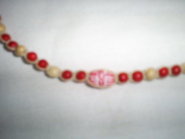 "Handcrafted Macrame  Wood Bead Bracelet, 71/2"", New"