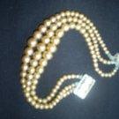 Vintage  Multi-Strand Bead Bracelet with rhinestone clasp