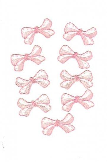 """Set of nine 2"""" pink applique bows, new, but vintage"""