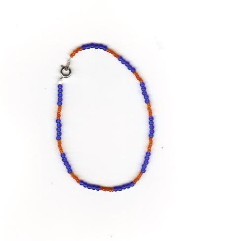 "Handcrafted Orange & Blue  Beaded  Ankle Bracelet, 9""   New"
