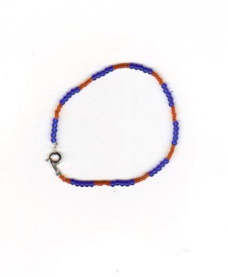 "Handcrafted Orange & Blue  Beaded  Bracelet, 9""   New"