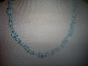 "Light Blue Shell and Bead Necklace, 25""  Made in India"