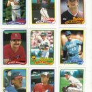 Nine Topps 1989 Near Mint Baseball Vending Cards