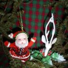 Vintage Beaded Santa Ornament and Reindeer Pick