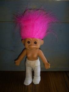 """Vintage Bright Pink Haired Russ Troll Doll, 10"""" Tall"""