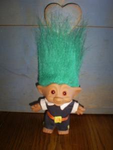 Pilgrim Troll Doll, Bright Green Hair, Collectible Vintage Doll