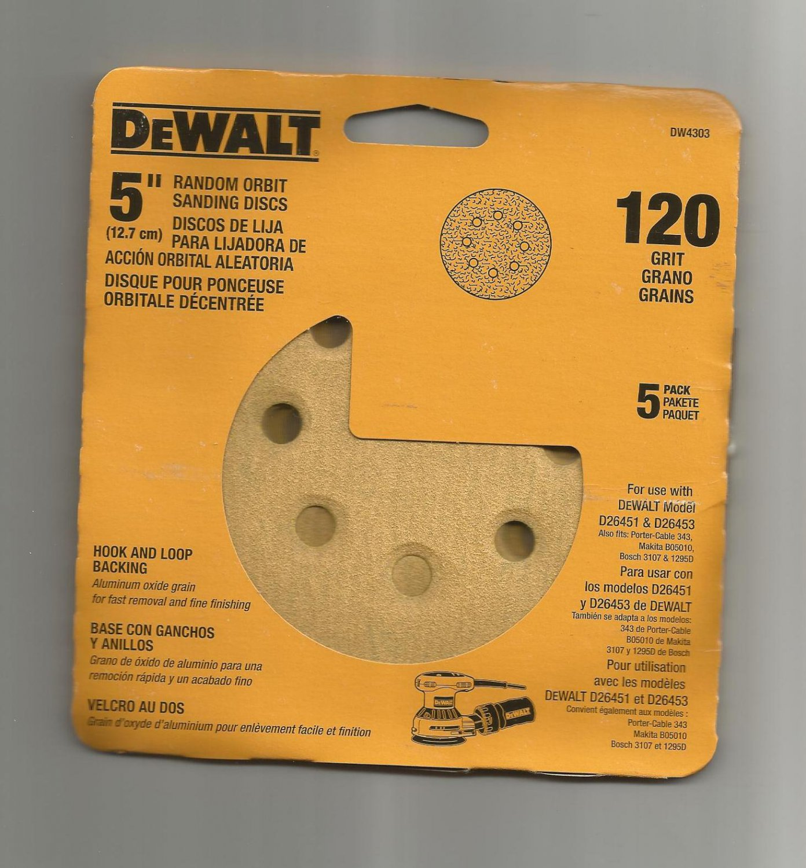 5-Pack DEWALT DW4303 5-Inch 8-Hole 120-Grit Hook-and-Loop Random Orbit Sandpaper