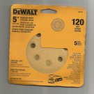 "DeWalt Random Orbit 5"" Sanding Discs, New 5 Pack 120 Grid, 8 Hole"