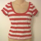 HOLLISTER PINK & WHITE TOP - SEQUIN POCKET - SIZE SMALL