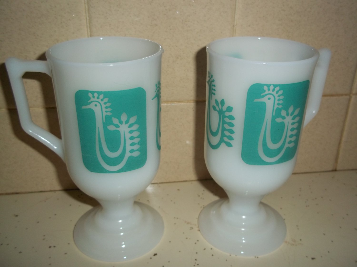 2 VTG MILK GLASS PEDESTAL COFFEE MUGS TURQUOISE ROOSTER