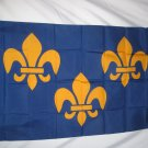 FLEUR DE LIS BLUE LARGE FLAG 3 X 5 3X5 FEET NEW POLYESTER