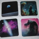 set of four space themed drink coasters 3.75 x 3.75 inches cork backed new