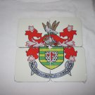 set of four county donegal crest drink coasters 3.75 x 3.75 inches cork back