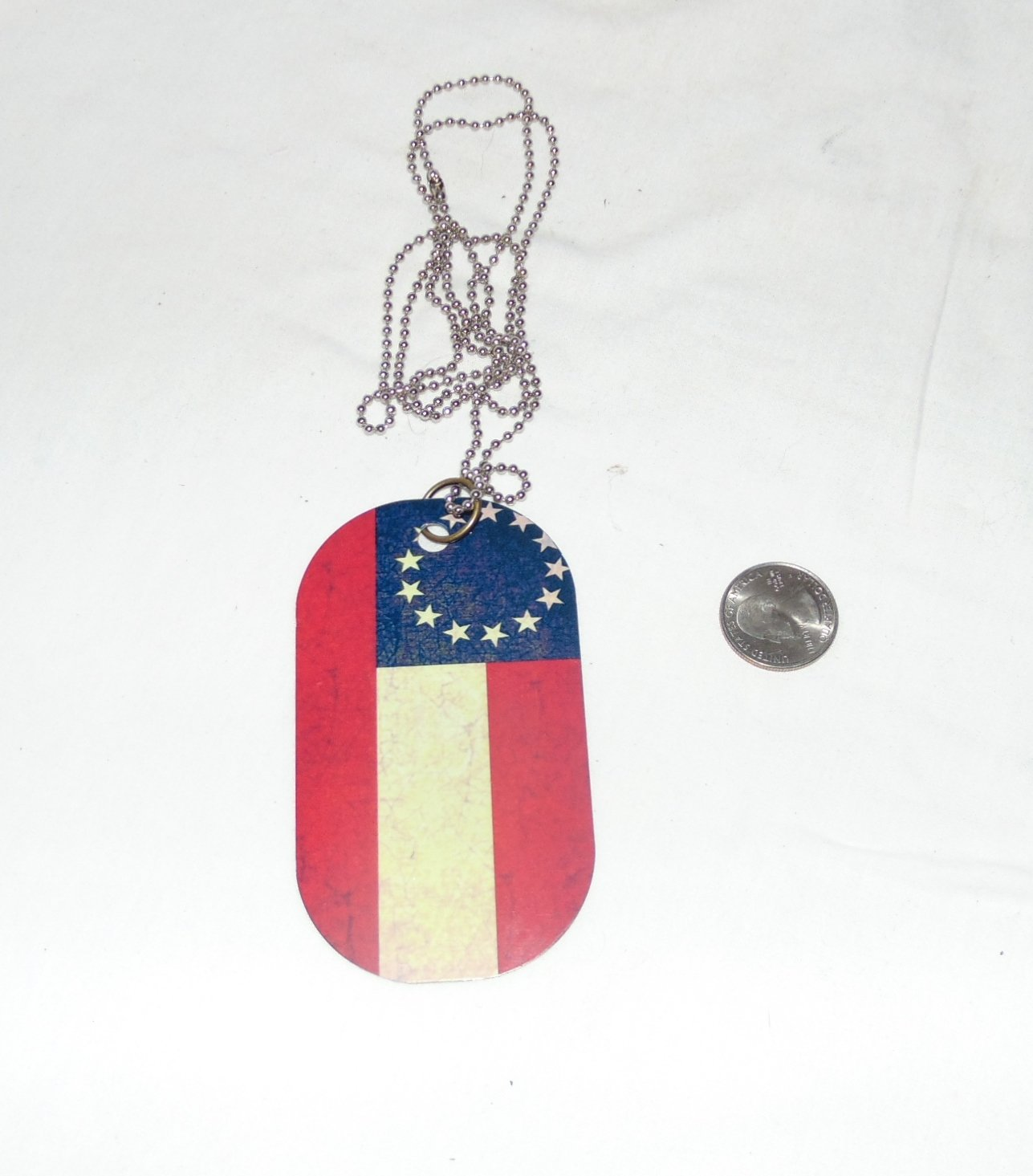13 STAR CSA oversized dog tag necklace rear view mirror decoration 4 x 2.25""