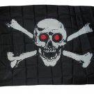 JOLLY ROGER PIRATE FLAG GLOWING EYES 3 X 5 3X5 NEW SKULL AND CROSS BONES