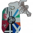 celtic nations oversized dog tag necklace rear view mirror decoration 4 x 2.25""