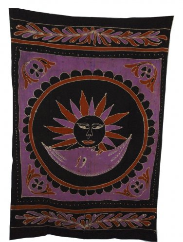 GOOD MORNING PURPLE TAPESTRY 54 X 86 INCHES APPROXIMATLY NEW BATIKED