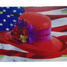 RED HAT SOCIETY WITH USA FLAG LICENSE PLATE 6 X 12 INCHES NEW ALUMINUM