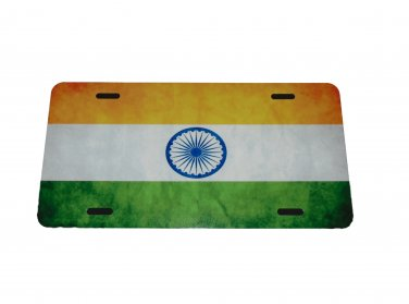 INDIA NATIONAL FLAG LICENSE PLATE 6 X 12 INCHES NEW ALUMINUM MADE IN USA