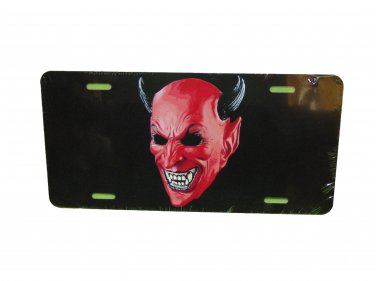 DEVIL SATAN LICENSE PLATE 6 X 12 INCHES ALUMINUM NEW MADE IN USA