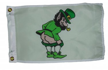 MOONING LEPRECHAUN GARDEN FLAG 12 X 18 INCHES TWO GROMMETS 2 SNAP HOOKS