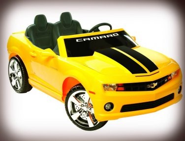 Chevy Camaro 12V Car 2-Seater Ride On Toy Yellow Battery Operated with FM Radio & MP3 Outlet