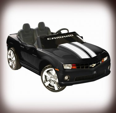 Chevy Camaro 12V Car 2-Seater Ride On Toy Black Battery Operated with FM Radio & MP3 Outlet