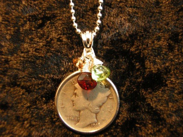Vintage Mercury Dime, Garnet, Peridot & Citrine Charm Necklace