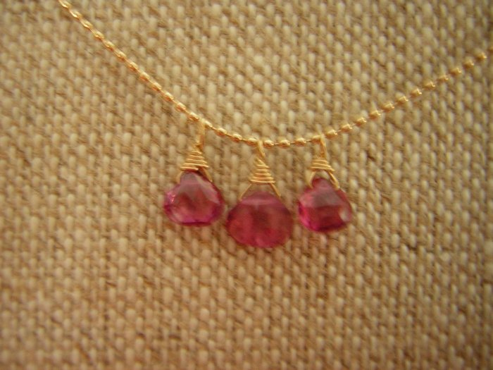 Petite Pink Tourmaline Briolettes on 14k Gold Necklace