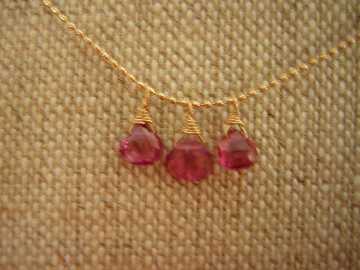 Petite Pink Tourmaline Briolettes on 14k Gold Necklace