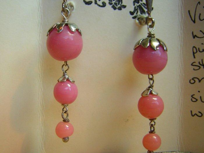 Vintage Pink Waterfall Earrings