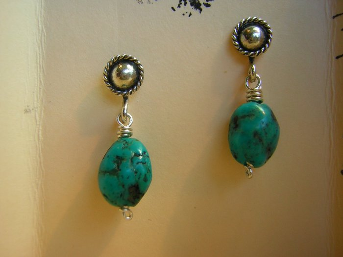 Turquoise Nuggets on Sterling Silver Rope Posts