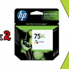 Genuine 2PK HP 75XL CB338WN Tri Color Ink High Yield 75