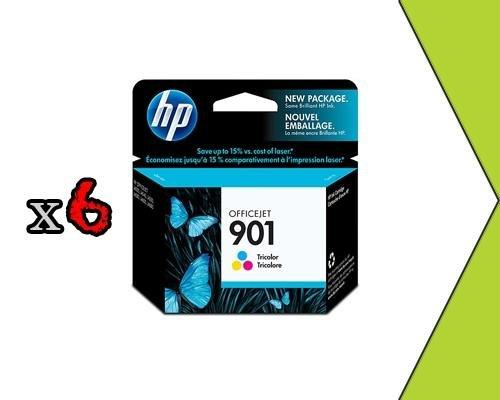 Genuine 6PK HP 901 CC656AN Tri Color Ink Cart CC656AE