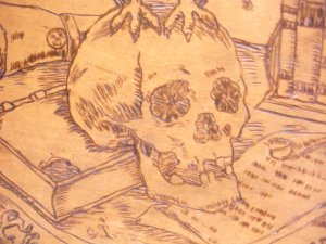 Pyrographic  art plaque skull and owl