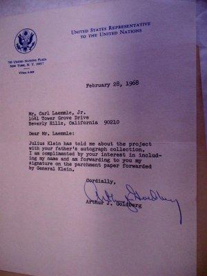 Arthur Goldberg Autograph from Feb 1968
