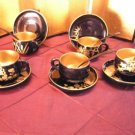 Japanese maki-e lacquer expresso cups and saucers