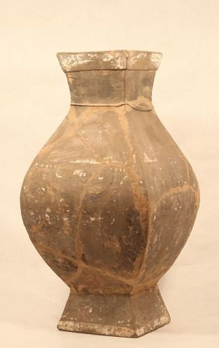 Chinese Han Dynasty Grey Pottery Hu Urn