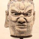 Sung Yuan Dynasty stucco Lokapala head blue