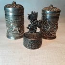 Vintage Sterling silver Thai Burmese salt and pepper Place card holders